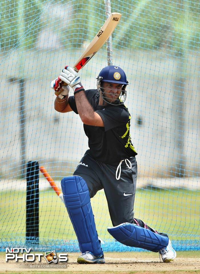 The power-packed batsman looked very close to being his absolute best and knocked the ball with ferocity during the net session in Vizag.