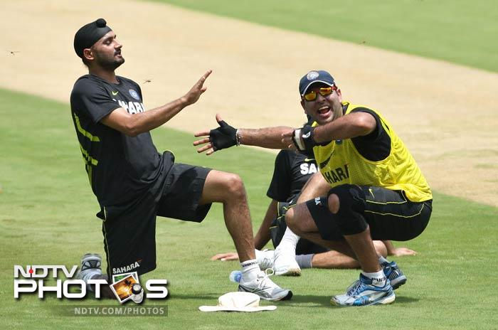 Of course, fun is an integral part of games. Here, Yuvraj is seen 'gaining blessing' from close friend and teammate Harbhajan Singh.