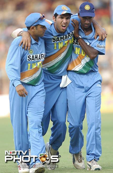 Yuvraj twisted his ankle against Australia at Wankhede in 2003. He was carried off the field by Virender Sehwag and L Balaji (right).