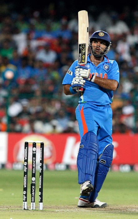 Indian batting again wobbled against the Netherlands. Chasing a small 190-run target, India lost quick wickets after a good start and slipped to 139/5. Yuvraj took his time in the middle and worked the ball into the gaps. He scored an unbeaten 51 off 73 balls with seven fours. (Getty Images)