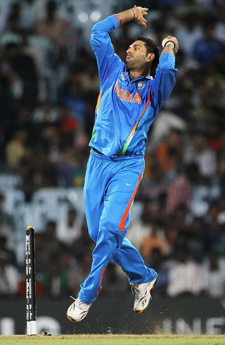 With 15 wickets, Yuvraj is the second highest Indian wicket-taker in the competition, sixth in the leading bowlers list, four spots behind pacer Zaheer Khan, who is the second in the charts with 21 wickets. Zaheer has as many wickets as Shahid Afridi but the Pakistan captain's average of 12.85 was superior to that of the Indian bowling spearhead (18.76). (Getty Images)