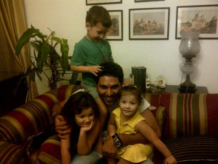 Yuvraj, with his nephew and nieces in Chandigarh.