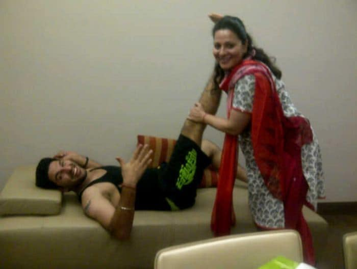 """Yuvraj's caption said it all; """"My new trainer at home! Now my mother is going to tell me how to exercise oh god !!"""""""