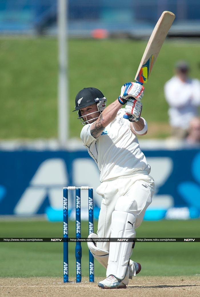 McCullum was soon in the zone as he unleashed some powerful shots and sent the ball skimming to the boundary and over.