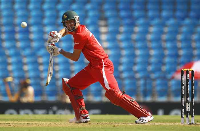 Craig Ervine edges the ball towards the boundary during the 2011 ICC World Cup Group A game between Canada and Zimbabwe at Vidarbha Cricket Association Ground in Nagpur, India. (Getty Images)