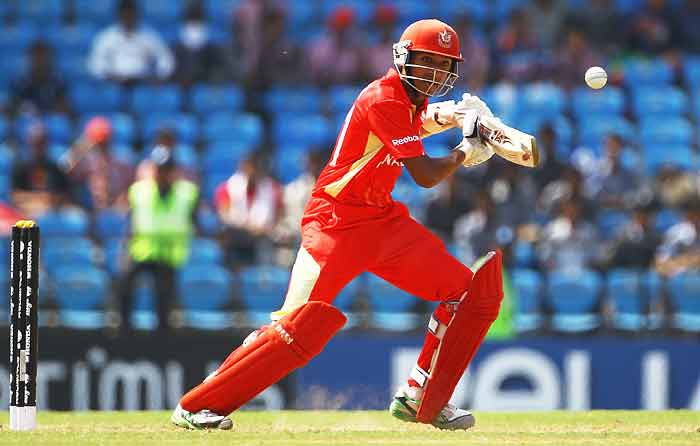Nitish Kumar hits the ball towards the boundary during the 2011 ICC World Cup Group A game between Canada and Zimbabwe at Vidarbha Cricket Association Ground in Nagpur, India. (Getty Images)