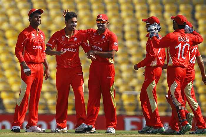 Harvir Baidwan is congratulated by teammates, after bowling Charles Coventry of LBW during the 2011 ICC World Cup Group A game between Canada and Zimbabwe at Vidarbha Cricket Association Ground in Nagpur, India. (Getty Images)
