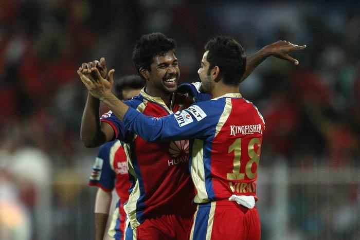 Varun Aaron led the way for Royal Challengers Bangalore taking 3/16 as Kolkata Knight Riders posted 150/7.