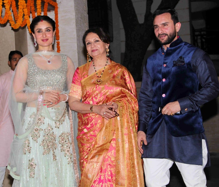 Kareena Who Had Looked Ravishing At The Wedding Notched Up Another Fashion High In Glittering White And Pink Manish Malhotra While Saif Topped Off