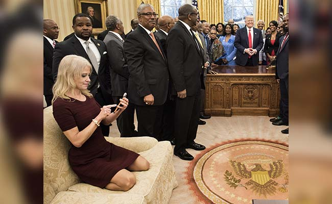 Trump Aide Kneels On White House Sofa With Shoes On. Twitter Explodes