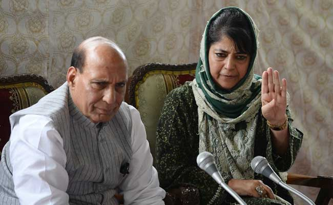 Rattled Mehbooba Mufti Ends Press Meet With Rajnath Singh Still Seated
