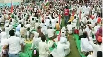 Video : Baba Ramdev's overnight camp damages turf at Ambedkar Stadium