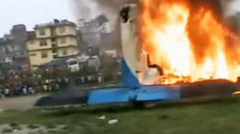 Video : Plane crashes minutes after take-off in Nepal, catches fire