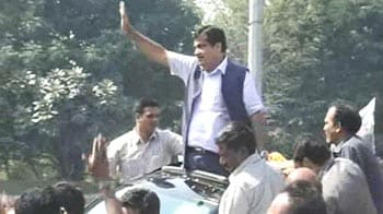 Video : In Nagpur, thousands cheer for Nitin Gadkari on his arrival