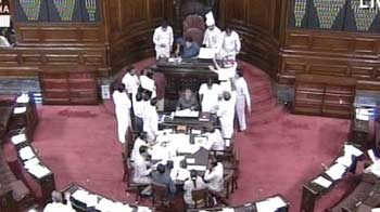 Video : Chairperson's mike broken, Rajya Sabha session ends with unruly scenes