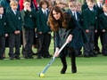 Video : Kate Middleton revisits school, plays hockey in high heels