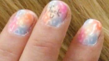 Lindsay Lohan's unique fingernail art
