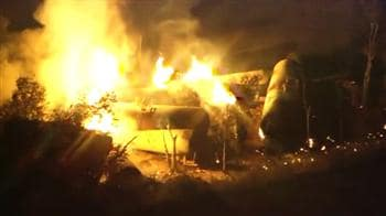 Video : Whole town evacuated after train accident leads to fire: Raw video