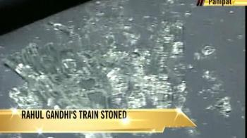 Video : Rahul Gandhi's train stoned, is safe
