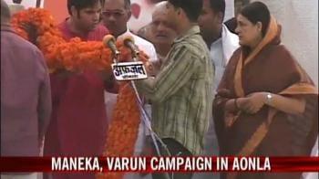 Video : Maneka, Varun campaign in Aonla