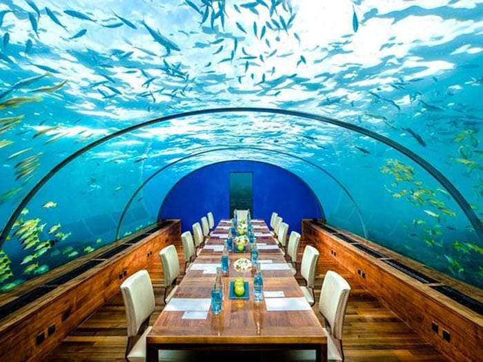 The most beautiful underwater restaurants in the world for Ithaa restaurant maldives