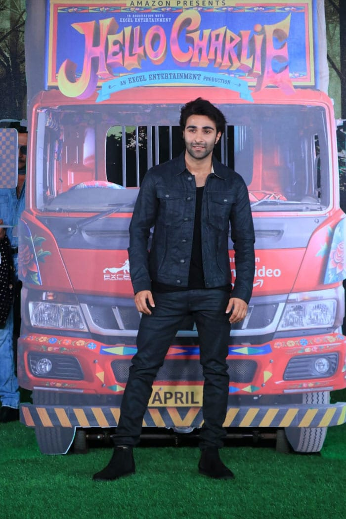 Actor Aadar Jain was spotted at the trailer launch event of his upcoming film Hello Charlie on Monday.