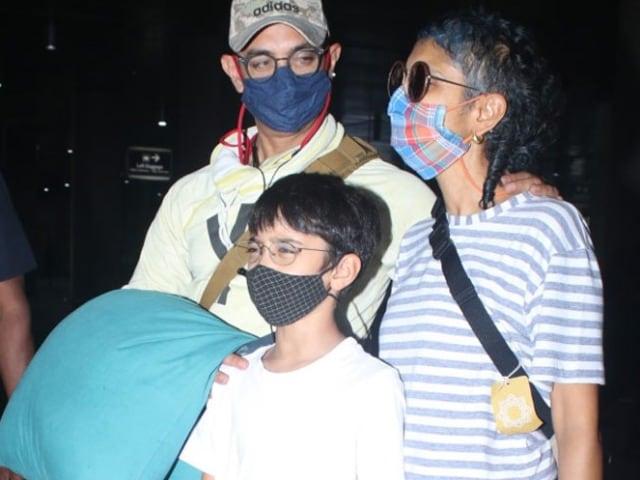 Photo : Aamir Khan, Kiran Rao And Son Azad Return To Mumbai