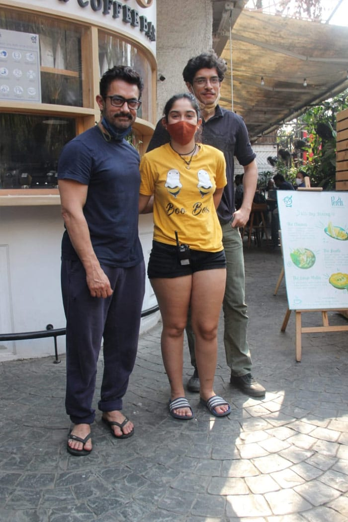 Aamir Khan was pictured with his children Junaid and Ira Khan at a cafe in Bandra on Wednesday.