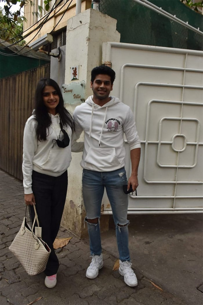 Abhimanyu Dassani was photographed with a friend outside a dubbing studio in Juhu.