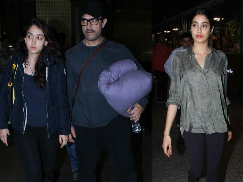 Aamir Khan, Ira, Janhvi Kapoor, Mira Rajput Stop Airport Traffic