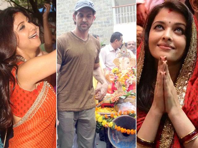 Shilpa, Hrithik, Aishwarya Chant Ganpati Bappa Morya