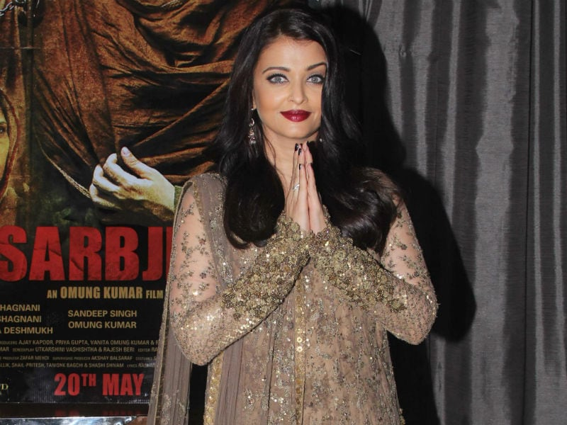 Aishwarya Glitters in Gold at Sarbjit Party