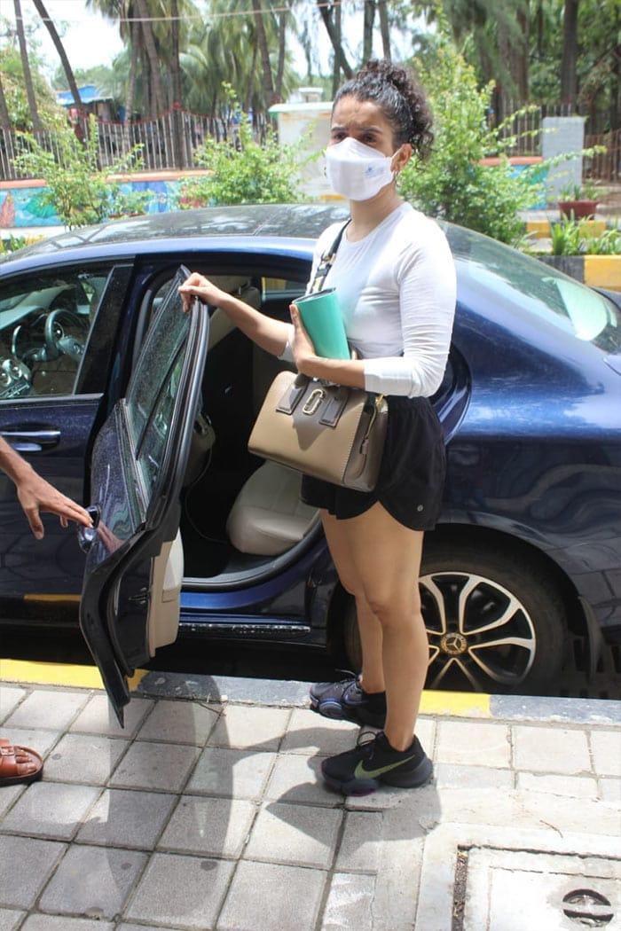 Sanya Malhotra was photographed outside her gym in Santa Cruz.