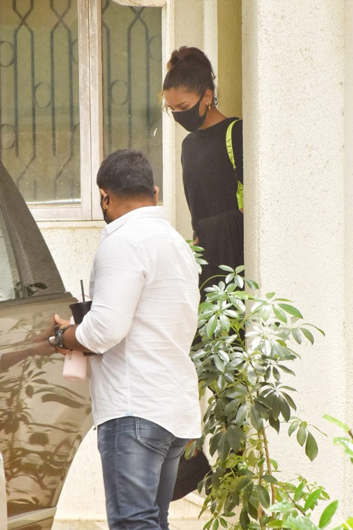 Actress Alia Bhatt was on Friday spotted outside a dubbing studio in Juhu.