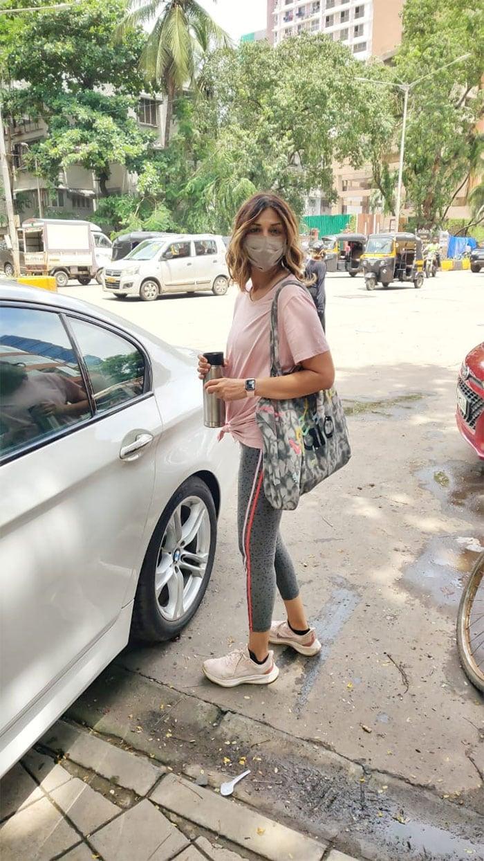 Sonali Bendre was pictured outside a salon.