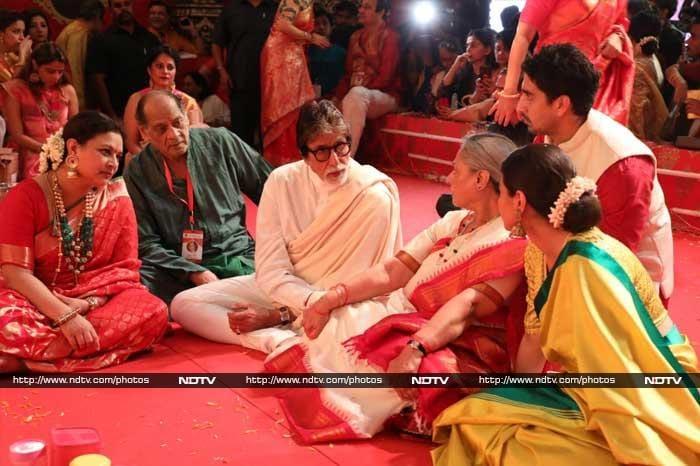 Big B, Ayan Mukerji and Kajol seek goddess Durga's blessings at pandal