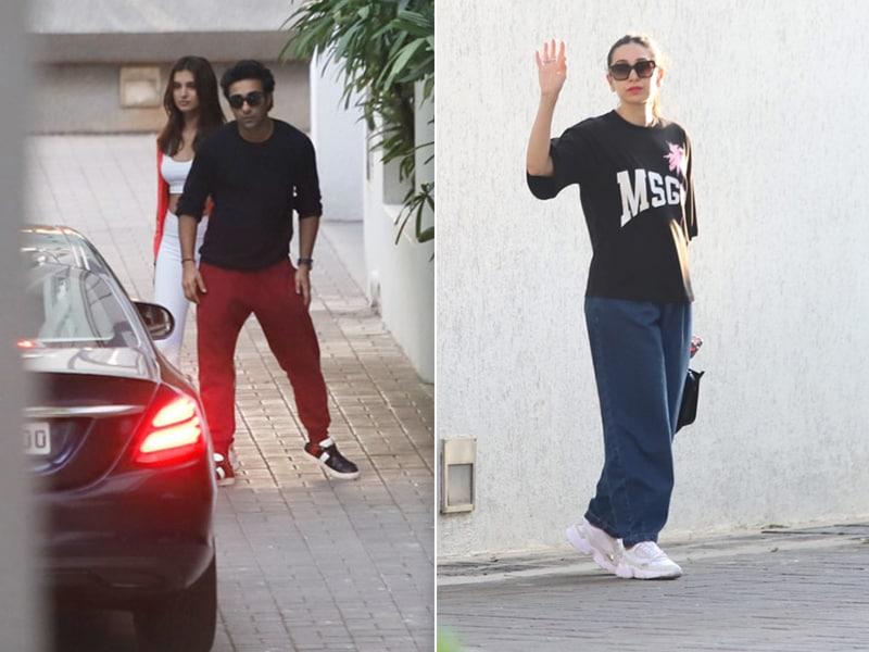 Karisma Kapoor, Tara Sutaria And Aadar Jain Visit Ranbir Kapoor's Residence For Armaan Jain's Sangeet Rehearsals