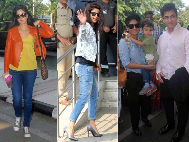 Katrina, Priyanka, Aamir Leave For Arpita's Wedding