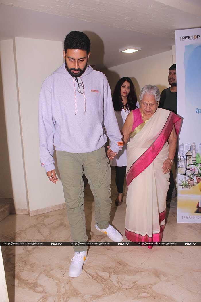 ऐश्वर्या राय और अभिषेक बच्चन ने देखी फिल्म '102 नॉट आउट'