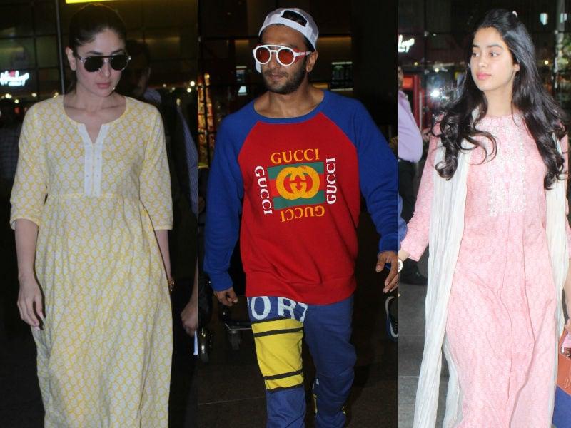 Photo : सोनम कपूर की शादी के लिए मुंबई पहुंचे जाह्नवी, करीना और रणवीर सिंह