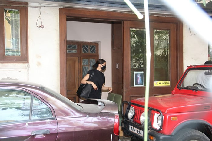 Actress Deepika Padukone was spotted outside a dubbing studio in Bandra on Saturday.