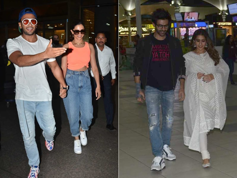 Star-Studded Airport With Deepika Padukone-Ranveer Singh And Sara Ali Khan-Kartik Aaryan