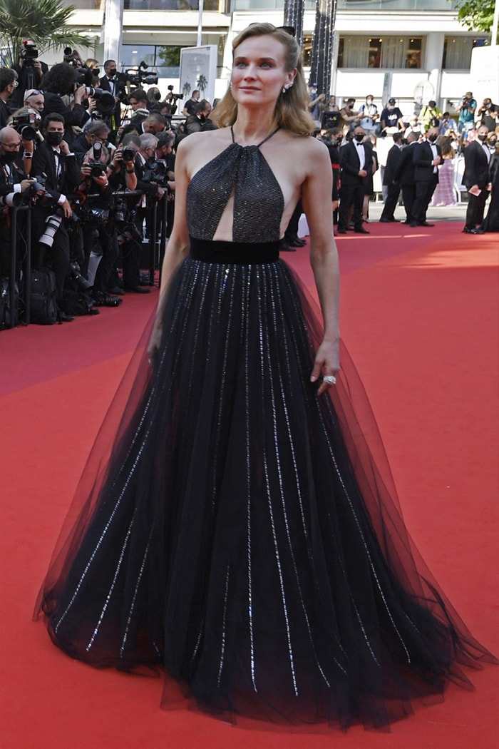 German actress Diane Kruger exuded elegance in a black gown as she attended the screening of the film  Tout s\'est Bien Passe(Everything Went Fine) on the second day of the 74th Cannes Film Festival.