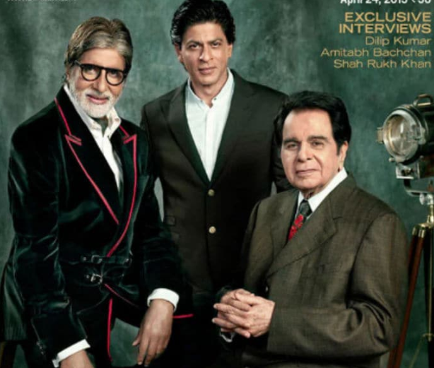 In April 2013, Dilip saab and fellow superstars Amitabh Bachchan and Shah Rukh Khan appeared together on the cover of Filmfare magazine to mark 100 years of Indian cinema.