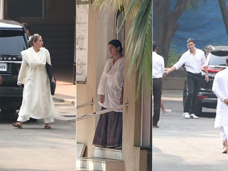 Dimple Kapadia, Twinkle Khanna And Akshay Kumar At Betty Kapadia's Funeral
