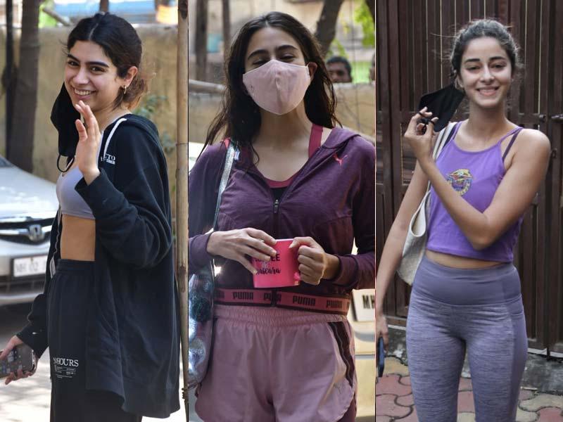 Photo : फिटनेस क्लास के दौरान स्पॉट की गईं ख़ुशी, सारा और अनन्या