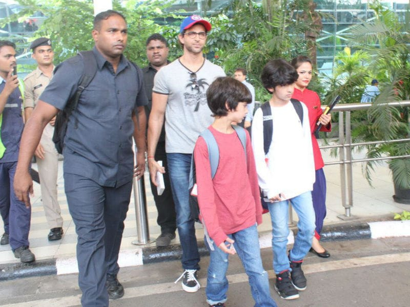 Hrithik, Sussanne And Kids Touch Down In Mumbai