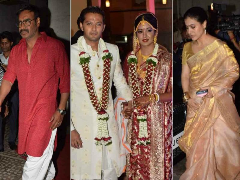 Photo : ऑनस्क्रीन बेटी की शादी में पत्नी के साथ पहुंचे अजय देवगन