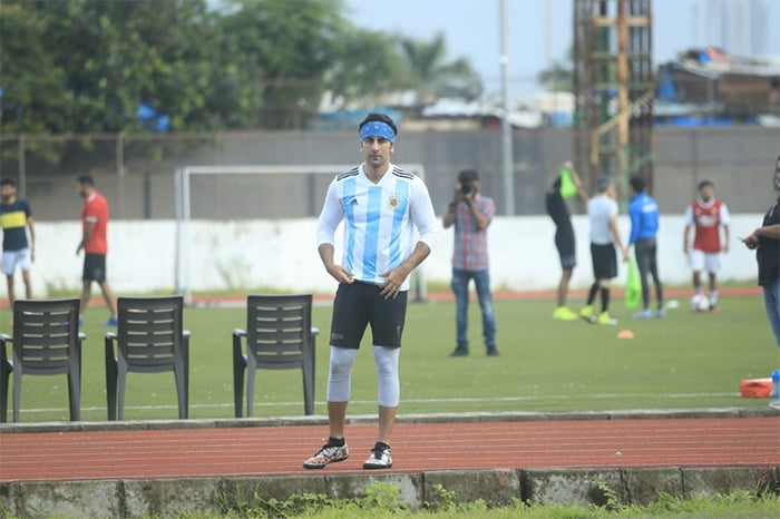 Actor Ranbir Kapoor was pictured enjoying a game of football in the city.