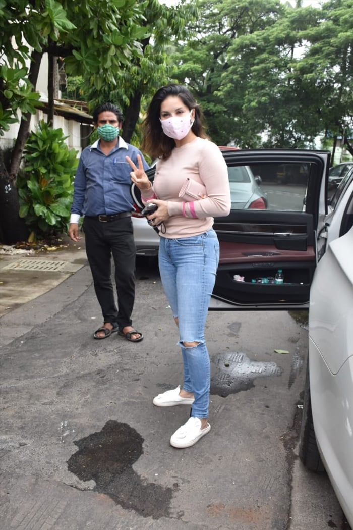 Sunny Leone was pictured in Juhu.